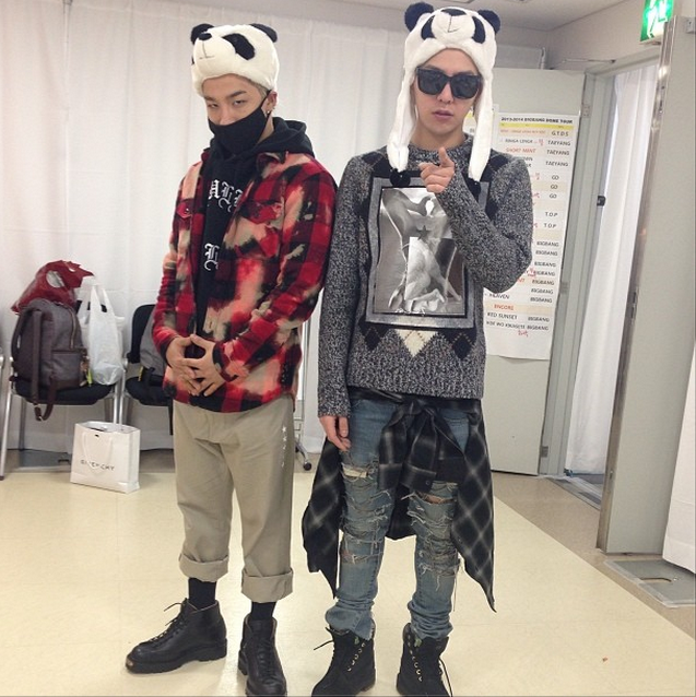 GD and Taeyang Panda Hats